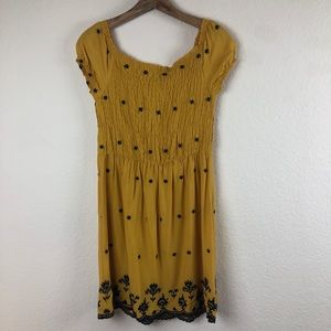 Love Tree Golden Yellow Embroidered Dress L